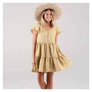 Rylee + Cru women's linen dress wheat yellow